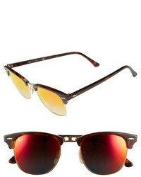 Ray-Ban Clubmaster 51mm Sunglasses Shiny Red Havana