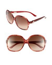 Salvatore Ferragamo Oversized Sunglasses Striped Red One Size