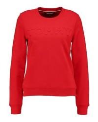 Tommy Hilfiger Embossed Crew Neck Sweatshirt Red