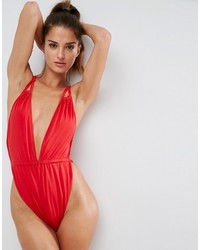 Asos Glam High Leg Gathered Strappy Plunge Swimsuit