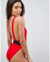 ASOS DESIGN Recycled High Leg Elastic Waist Swimsuitcoat Red