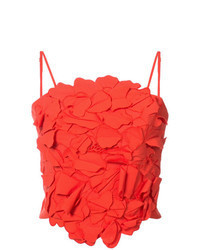 Red Textured Cropped Top