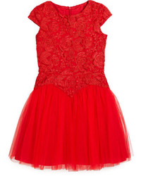 David Charles Childrenswear Cap Sleeve Lace Tulle Party Dress Red Size 6 16