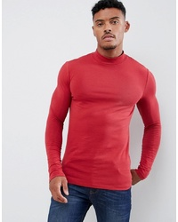 ASOS DESIGN Muscle Fit Long Sleeve T Shirt With Turtle Neck In Red