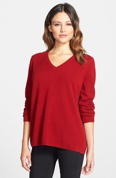 Nordstrom Collection Button Side V Neck Cashmere Sweater | Where ...