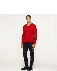 Ralph Lauren Black Label Denim V Neck Ribbed Sweater