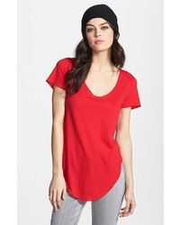 Leith Curved Hem Tee Red Tango Small