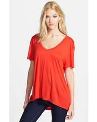 Leith Oversized V Neck Tee Red Fiery X Small