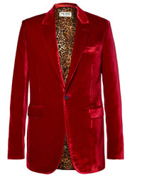 Red slim fit velvet blazer medium 791333