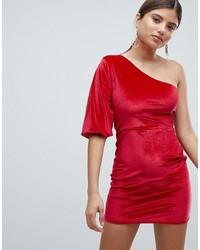 Missguided Velvet One Shoulder Dress