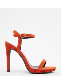 New Look Velvet Heeled Sandal In Orange