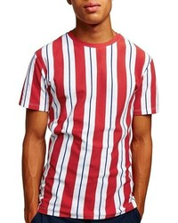 Red Vertical Striped Crew-neck T-shirt