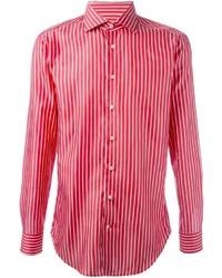 Red Vertical Striped Long Sleeve Shirt
