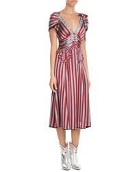 Red Vertical Striped Midi Dress