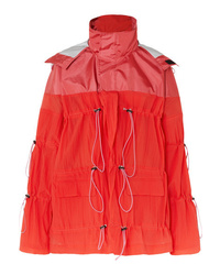 Unravel Project Hooded Ruched Crinkled Shell Jacket