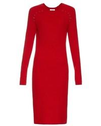 Red Wool Midi Dress