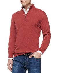 Red Zip Neck Sweater