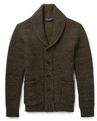 Look the best you possibly can in charcoal wool trousers and a shawl cardigan.