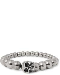 Alexander McQueen Skull Silver Tone Beaded Bracelet