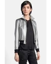 Saint Laurent Metallic Leather Aviator Jacket