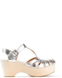Silver Chunky Leather Heeled Sandals
