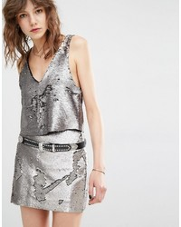 Silver Cropped Top