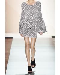 Herve Leger Herv Lger Skyler Cutout Stretch Jacquard Knit Mini Dress Silver