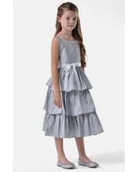 Us Angels Girls Tiered Taffeta Dress
