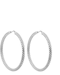 Bottega Veneta Intrecciato Oxidised Sterling Silver Hoop Earrings