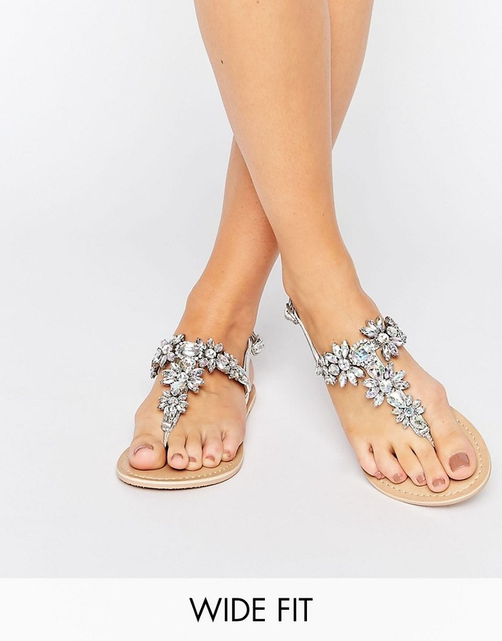 5ce74fb0cbd £37, Asos Fairytale Wide Fit Leather Embellished Flat Sandals