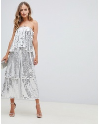 ASOS DESIGN Bandeau Embellished Jumpsuit With Tiered Leg