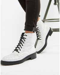 ASOS DESIGN Ally Lace Up Boots In Diamante