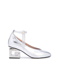 Gucci Metallic G Block Heel Pumps