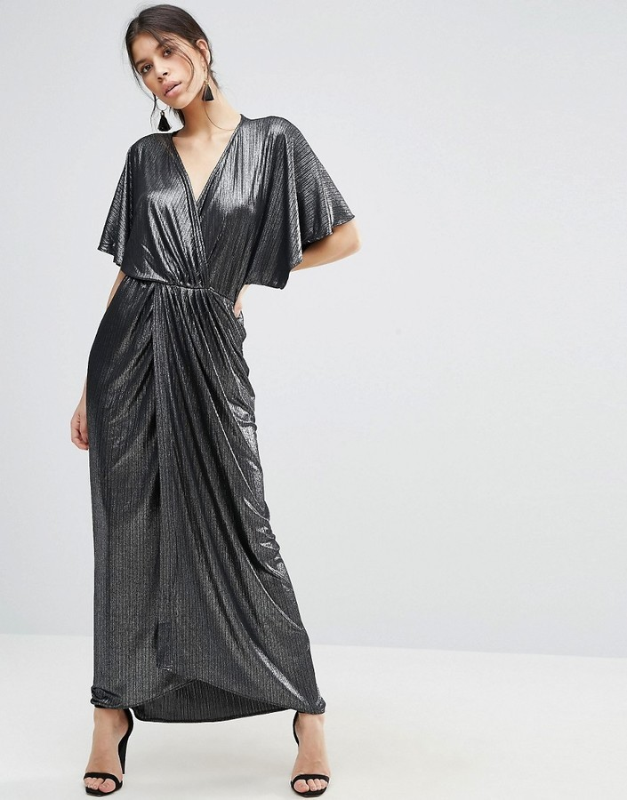 Asos Metallic Wrap Kimono Maxi Dress | Where to buy & how to wear