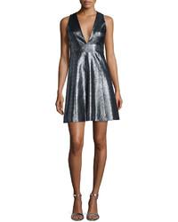 MICHAEL Michael Kors Michl Michl Kors Metallic Jacquard V Neck Fit Flare Dress