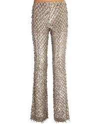 Michael Kors Michl Kors Collection Embellished Stretch Tulle Flared Pants Silver
