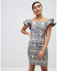 Vesper Paisley Frill Sleeve Midi Dress Floral Jacqu