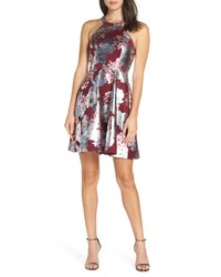Silver Floral Fit and Flare Dress