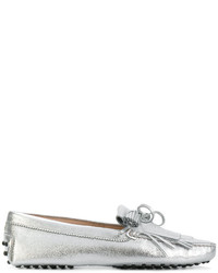 Silver Fringe Leather Loafers