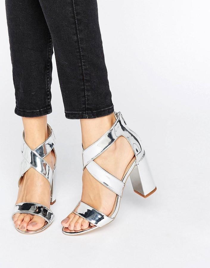 f7064266e69a ... Silver Heeled Sandals London Rebel Metallic Block Heel Sandal ...