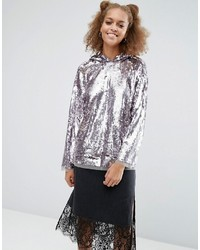 Asos Hoodie In All Over Sequin