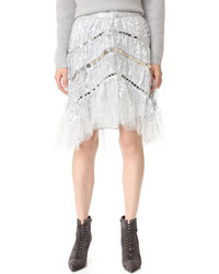 Silver Lace Mini Skirt