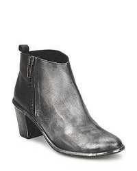 Silver Leather Ankle Boots