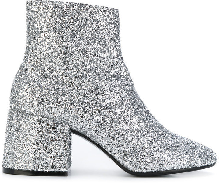 ee60420a8f83 ... Silver Leather Ankle Boots MM6 MAISON MARGIELA Glitter Ankle Boots ...