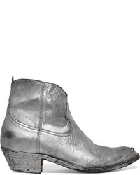 Young metallic distressed leather ankle boots silver medium 1139824