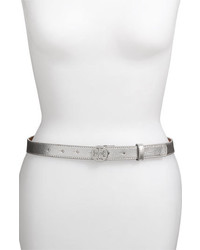 Tory Burch Tory Logo Skinny Metallic Leather Belt Silver X Small