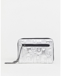 Juicy Couture Juicy Zip Around Purse In Metallic Silver