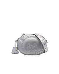 Moschino Silver Metallic Teddy Embossed Leather Belt Bag
