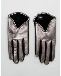 Asos Short Silver Metallic Leather Gloves