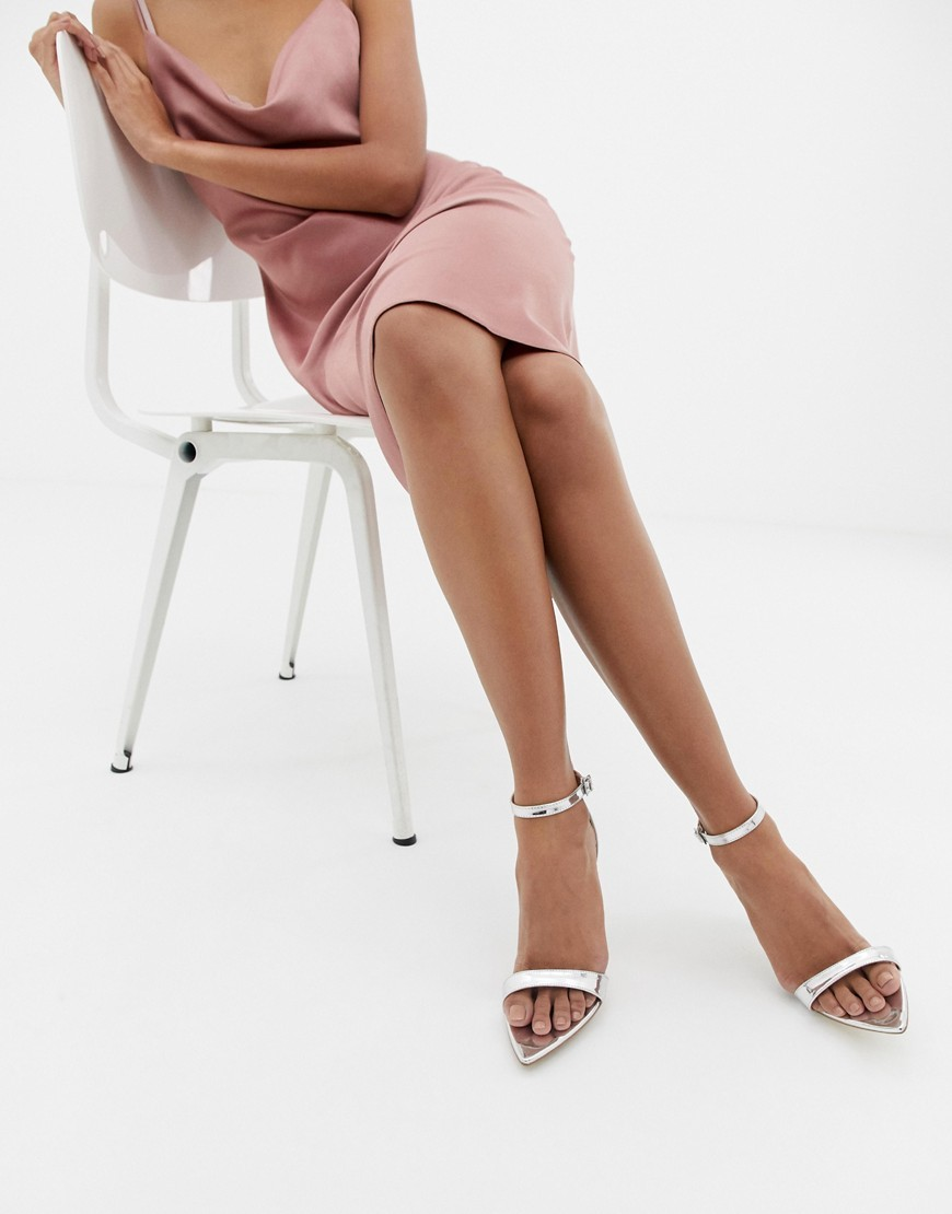 Public Desire Ace Silver Mirror Barely There Heeled Sandals Mirror